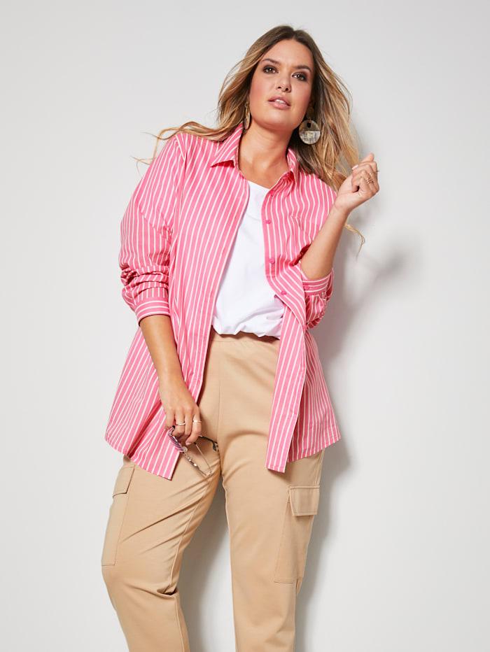 Janet & Joyce Bluse mit streckendem Längsstreifen-Muster, Pink/Weiß
