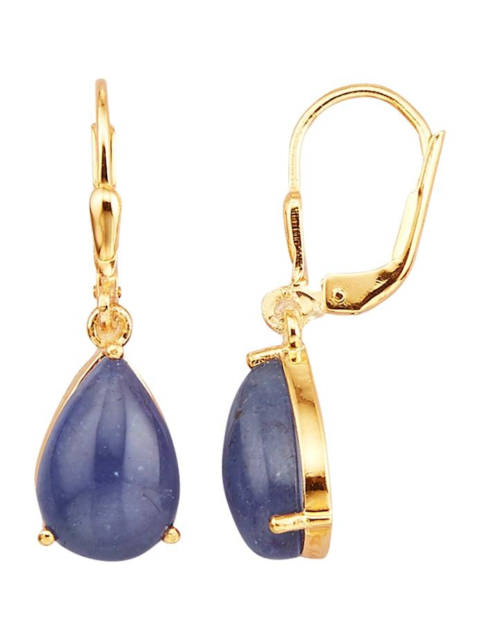 Diemer Farbstein Ohrringe mit Tansaniten, Blau