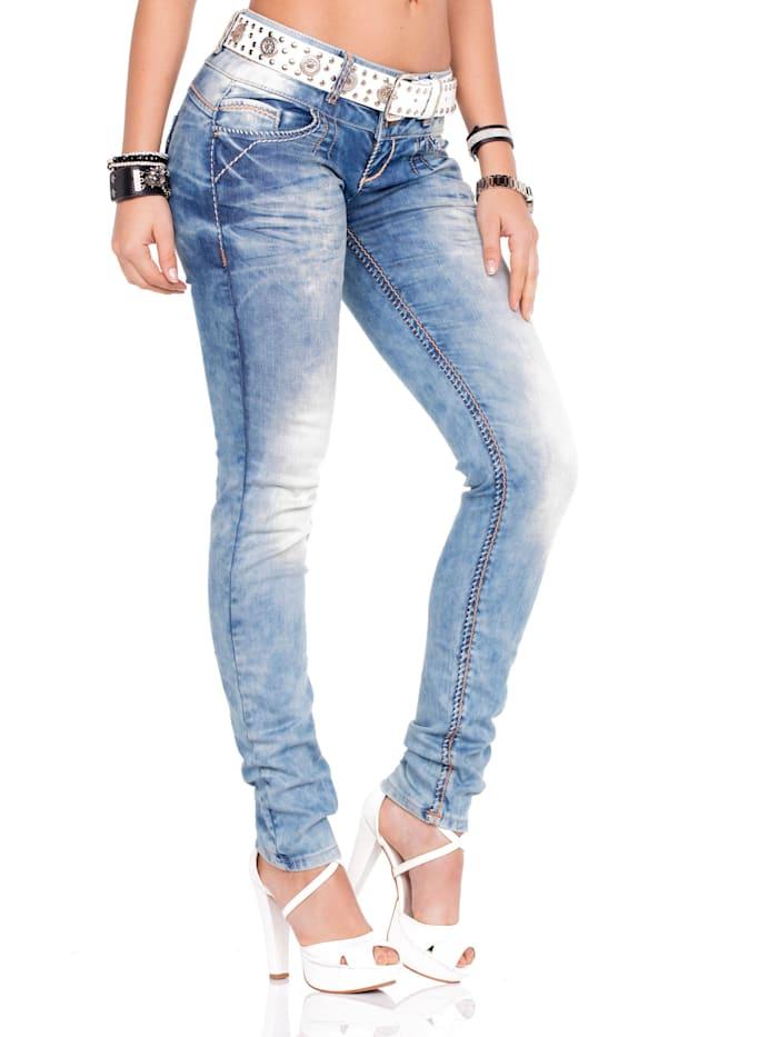 Straight Fit-Jeans mit stylishem Gürtel