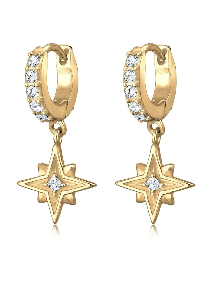 Elli Ohrringe Creole Astro Star Swarovski® Kristalle 925 Silber, Gold