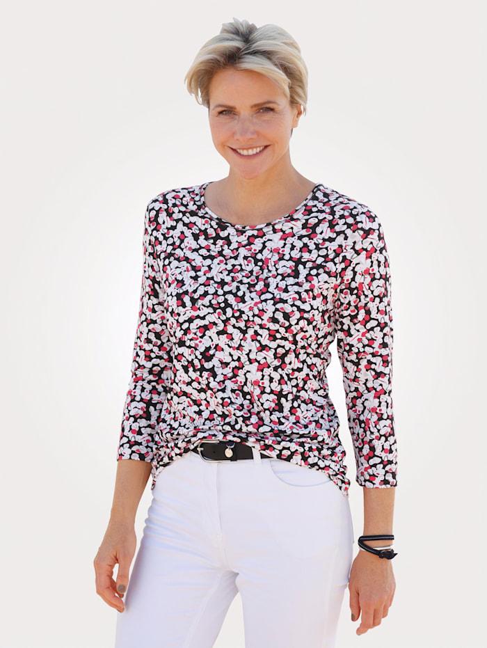 Rabe T-shirt à imprimé graphique, Noir/Rose vif