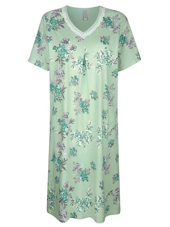 MONA Nachthemd aus dem Cotton made in Africa Programm, Lindgrün/Grau/Ecru