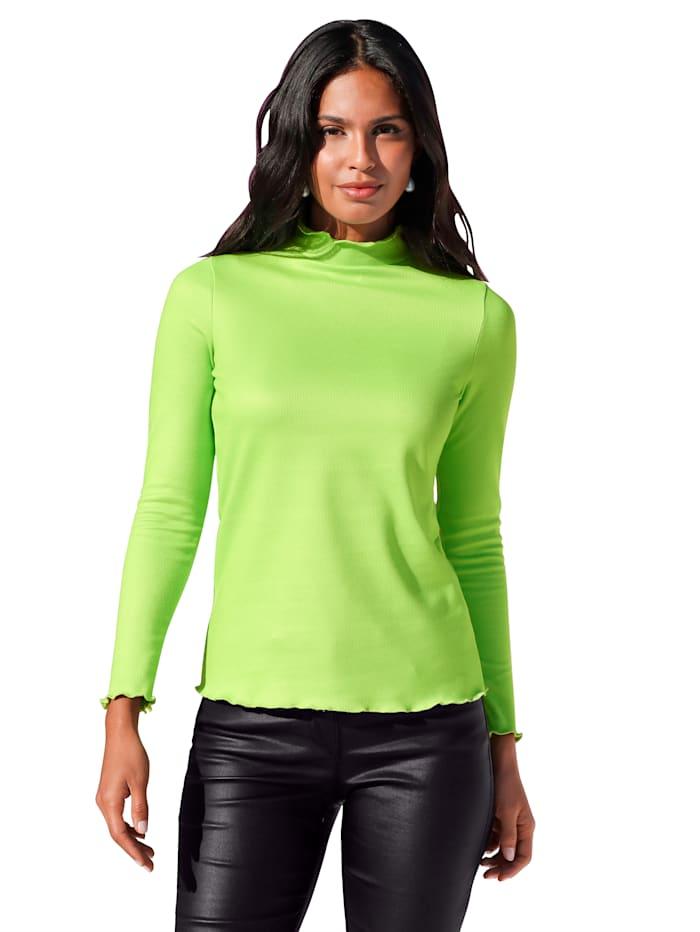 AMY VERMONT Stehbundshirt in Rippenoptik, Neongrün