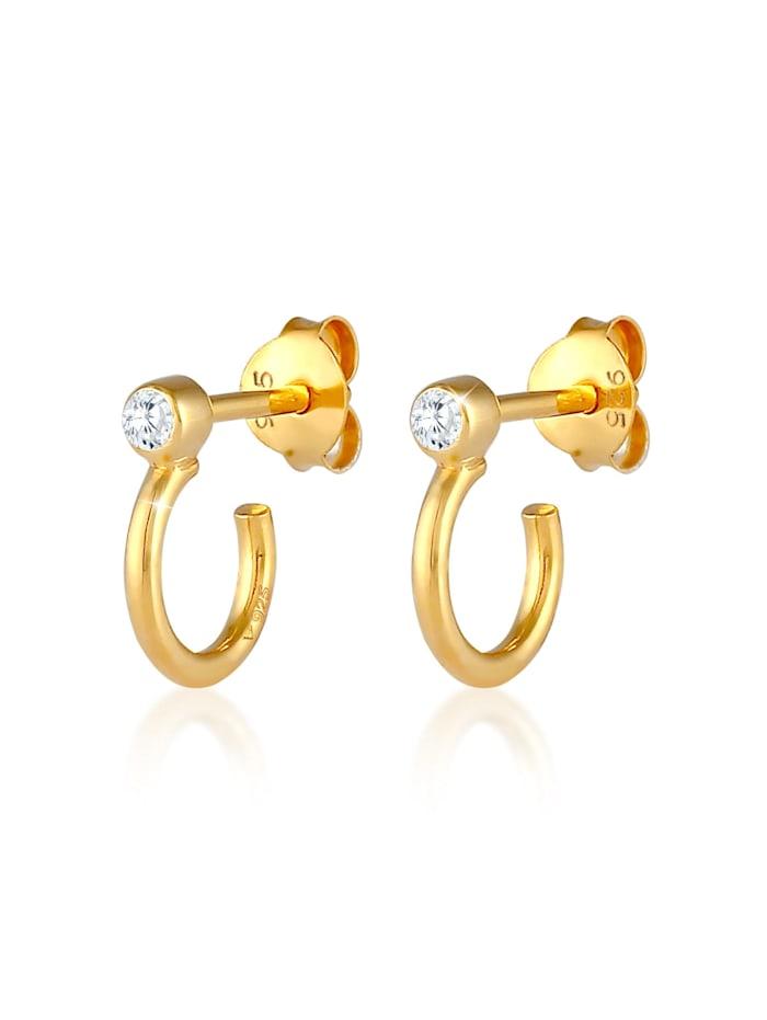 Elli Ohrringe Stecker Creolen Zirkonia Trend 925 Silber, Gold