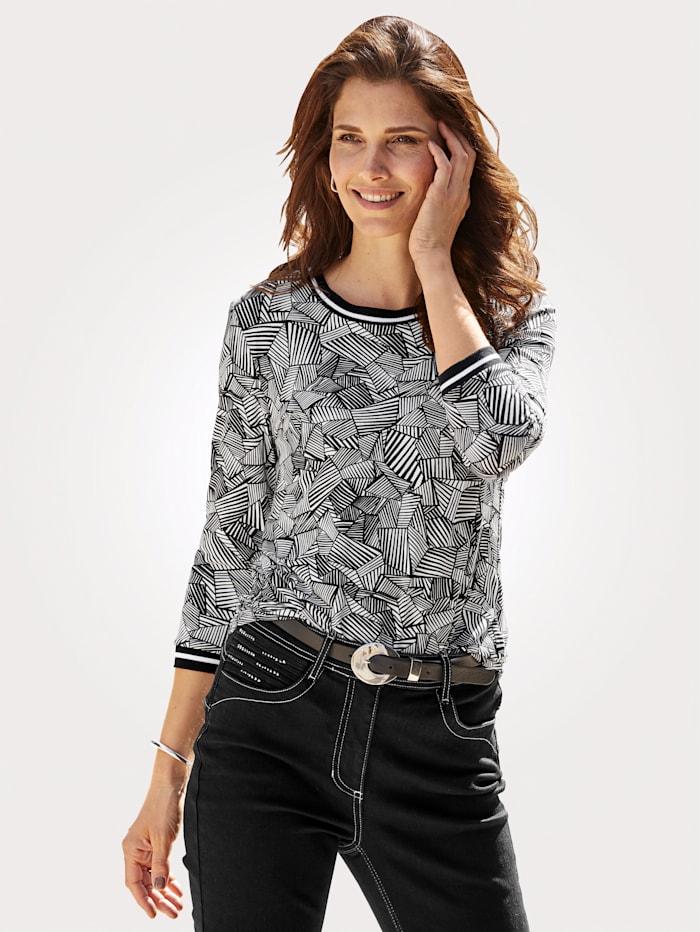 MONA Shirt met sportieve geribde boorden, Zwart/Wit