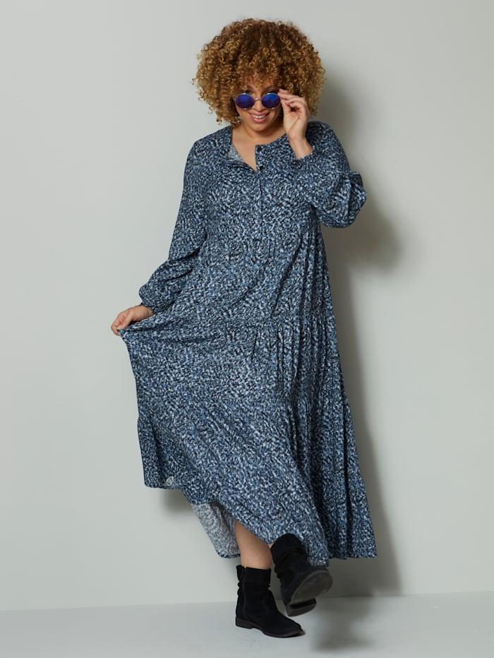 Angel of Style Maxikleid mit grafischem Dessin, Blau/Marineblau