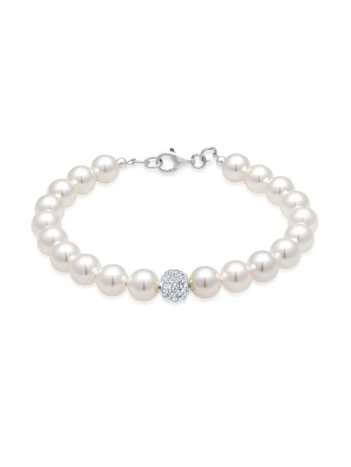 Elli Armband Synthetische Perlen 925 Sterling Silber, Weiß