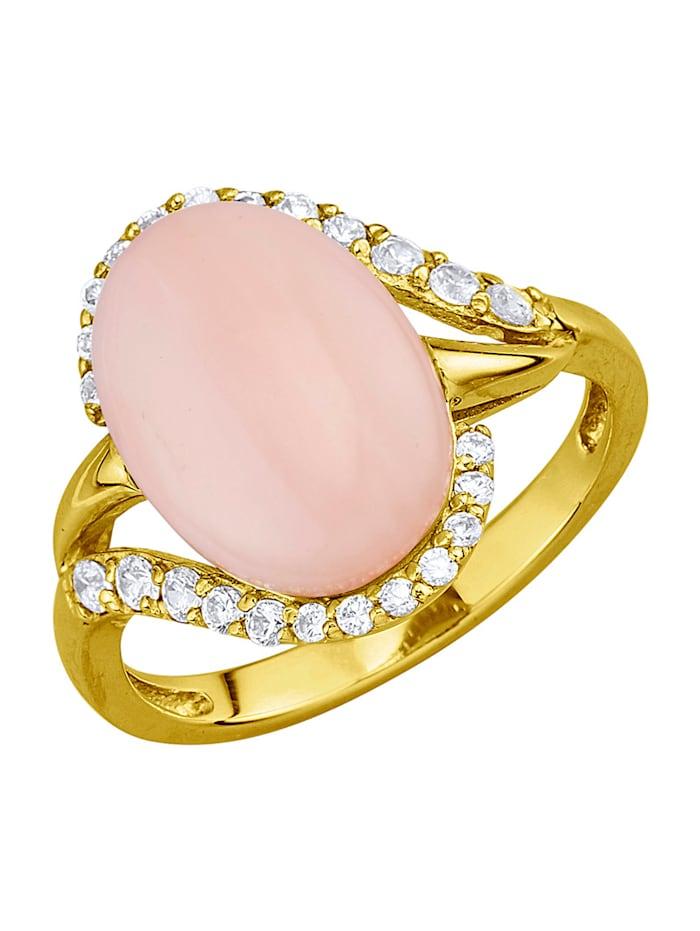 Damesring met opaal en synth. zirkonia's, Roze