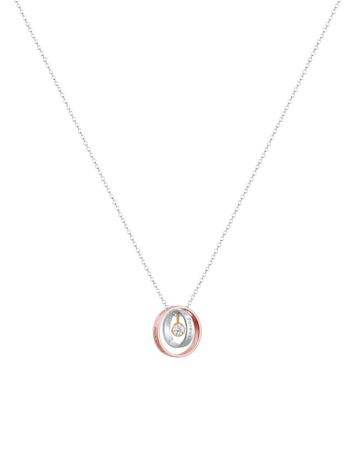 Halskette I Love You Forever Wording Bi-Color 925Er Silber