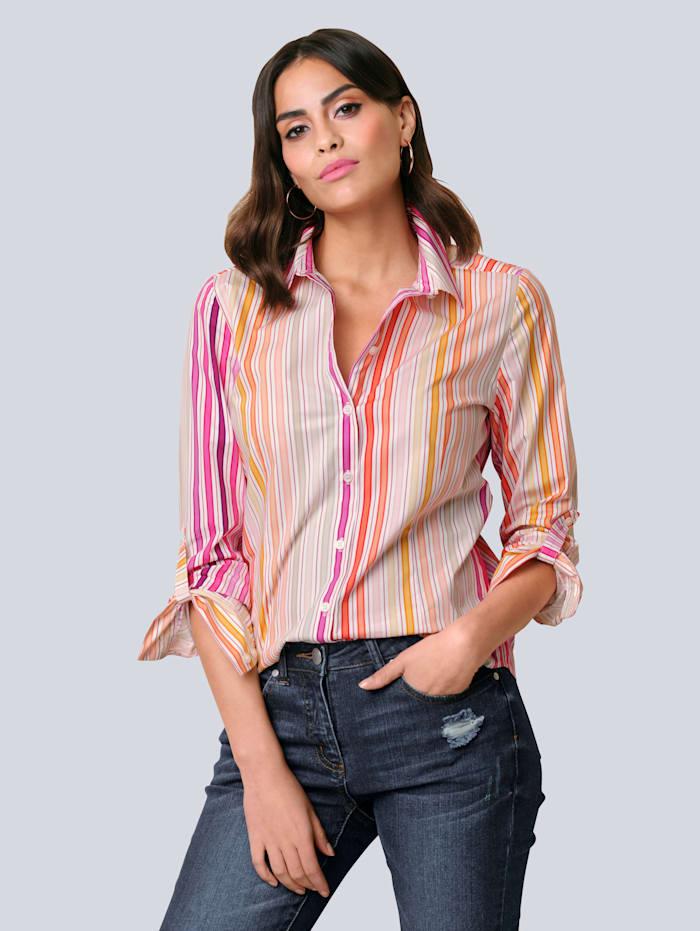 Alba Moda Bluse im farbenfrohem Streifendessin, Orange/Pink/Sand