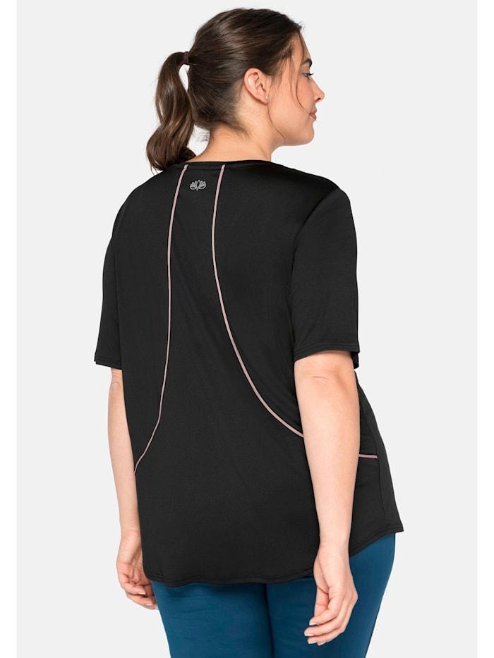 Sheego Funktionsshirt mit Rückenpaspel, Saum hinten länger
