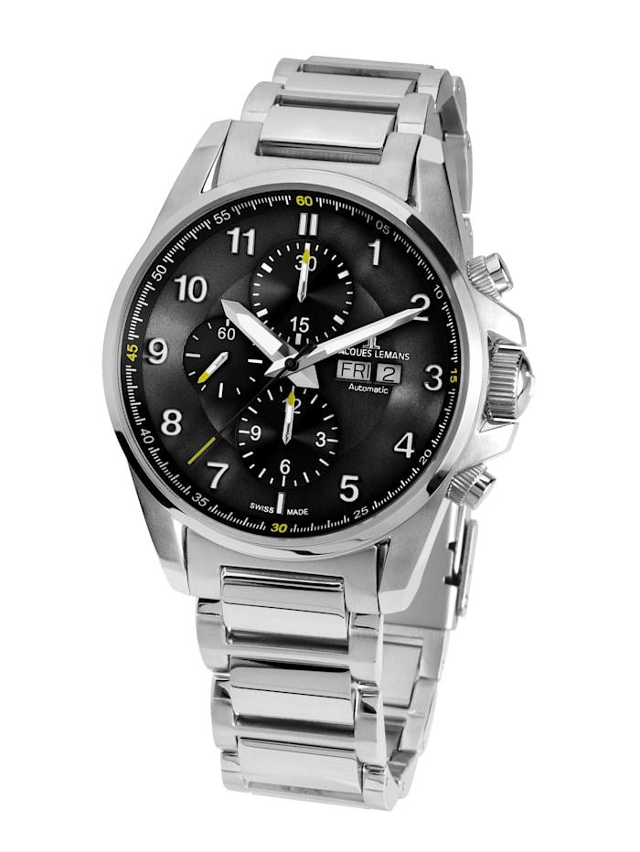 Jacques Lemans Herren-Uhr- Automatik-Chronograph Serie: Liverpool Automatic, Kollektion: Sport: 1- 1750D, Silberfarben