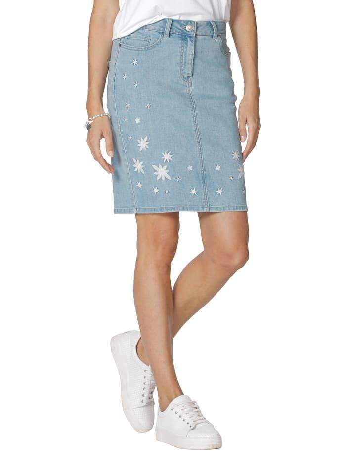 AMY VERMONT Jupe en jean avec broderie, Light blue/Blanc