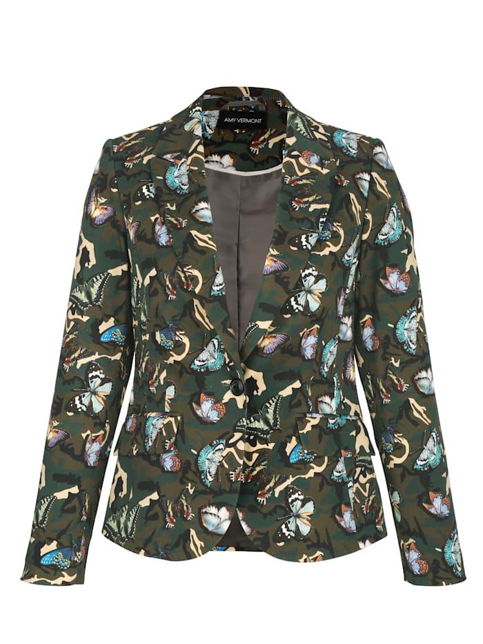 AMY VERMONT Blazer mit modischem Camouflage-Druck, Oliv/Multicolor