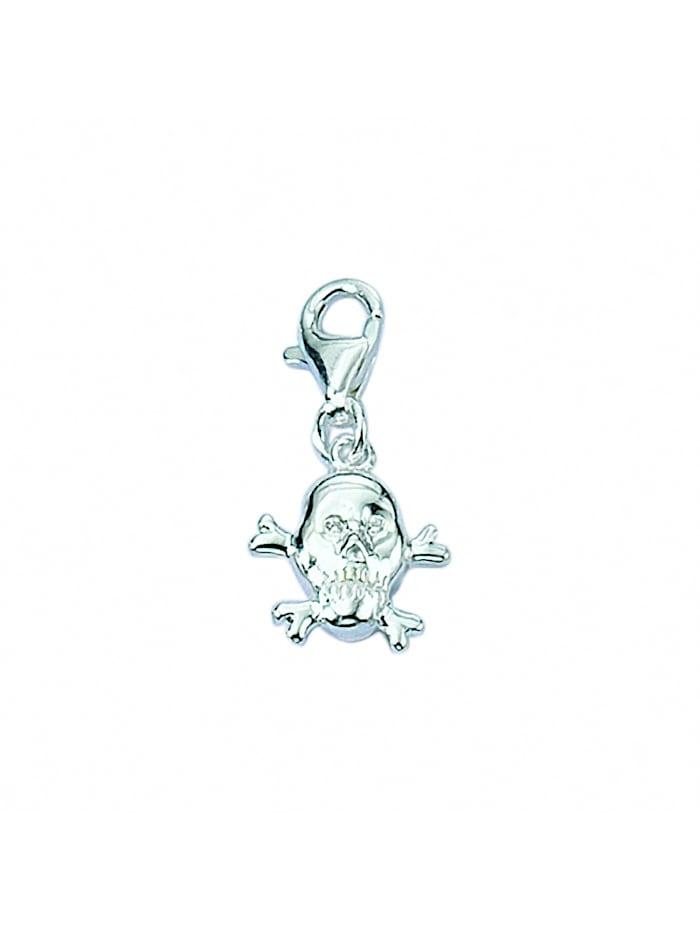 1001 Diamonds Damen Silberschmuck 925 Silber Charms Anhänger Totenkopf, silber