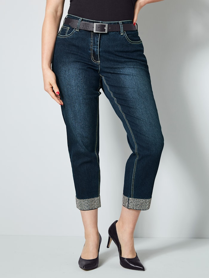 Sara Lindholm 7/8 džínsy so štrasovými kamienkami, Dark blue