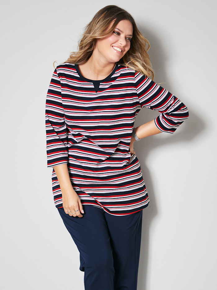Janet & Joyce Shirt met mooi strepenpatroon, Rood/Marine