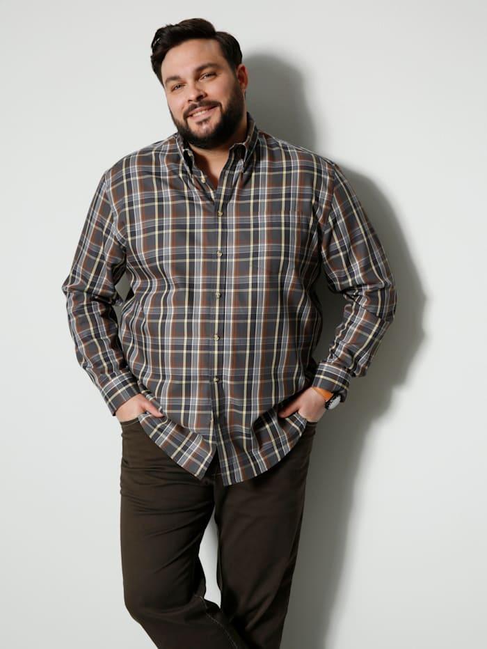 Men Plus Hemd mit durchgehender Knopfleiste, Grau