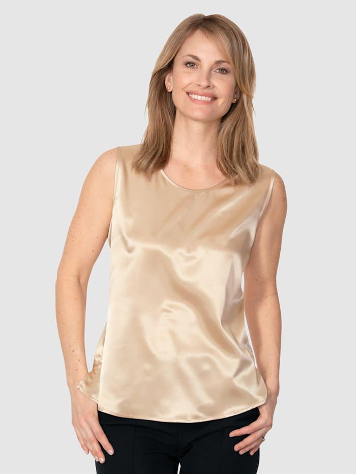 MONA Top aus elastischem Satin, Goldfarben