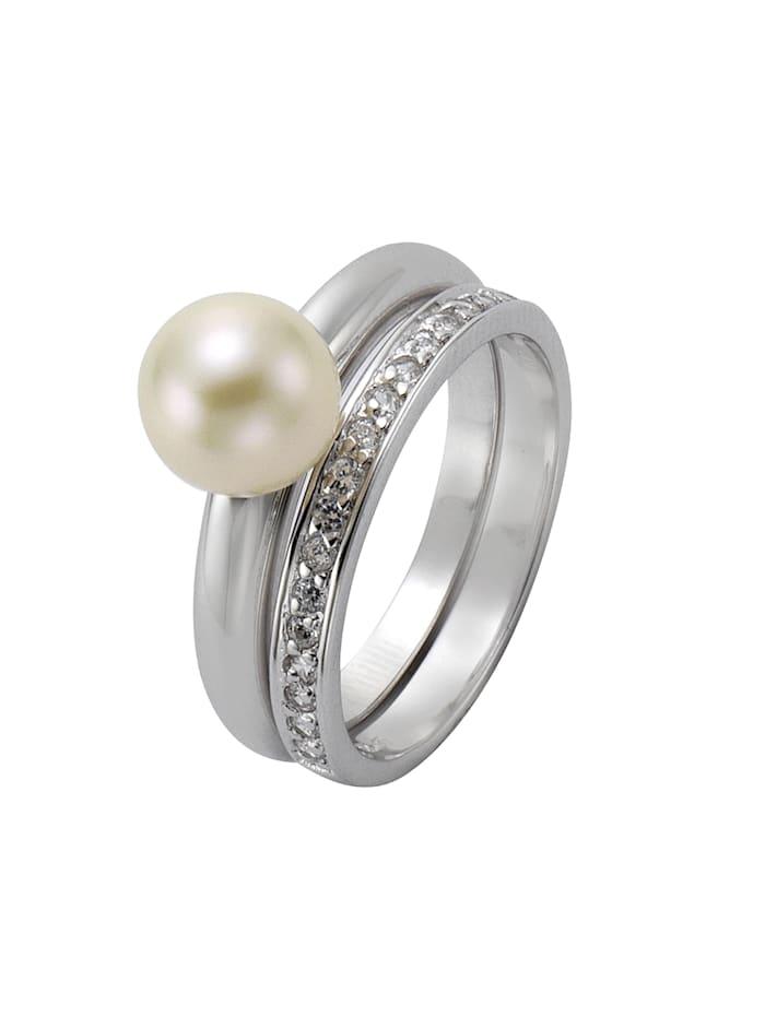 Ring 925/- Sterling Silber Perle weiß Glänzend 925/- Sterling Silber