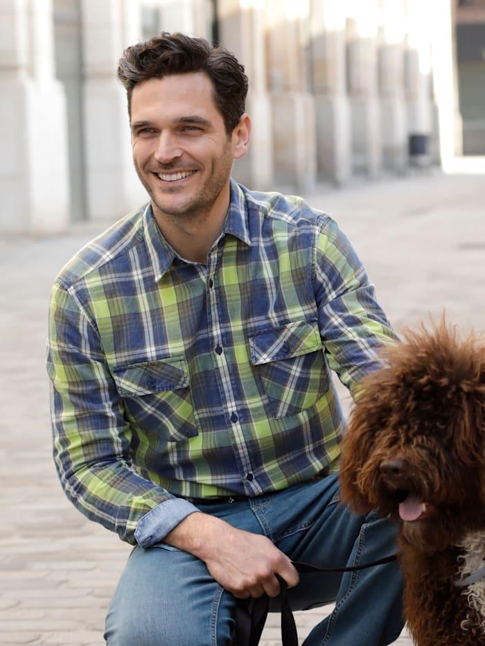 BABISTA Overhemd in lichte used look, Blauw/Groen