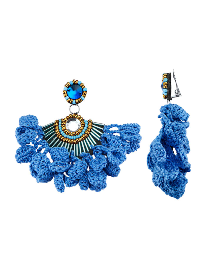 Oorclips met glasstenen en kralen, Blauw