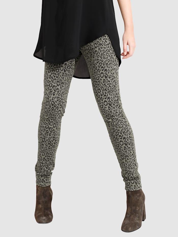 AMY VERMONT Jeans mit Leodruck allover, Khaki/Schwarz