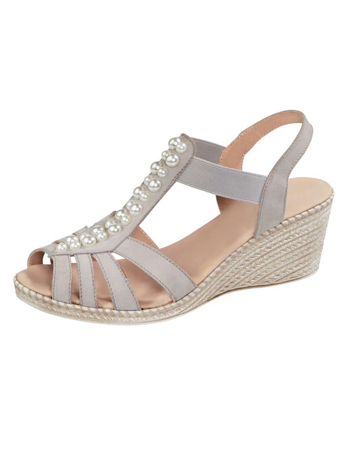 MONA Sandale mit toller Perlenapplikation, Grau