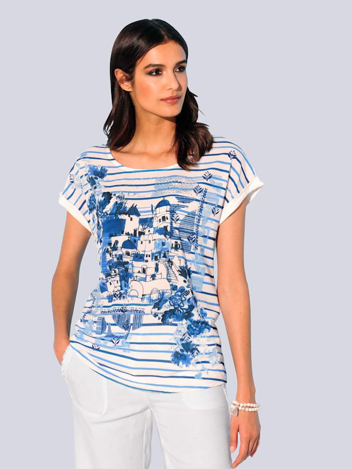 Alba Moda Shirt in schönem Materialmix, Blau/Weiß