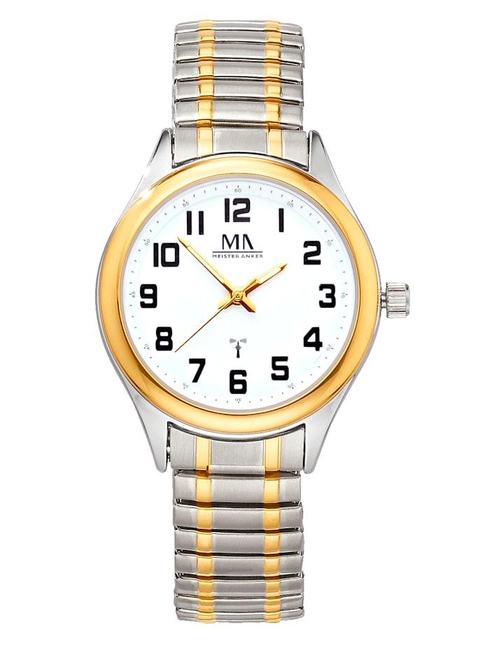 Meister Anker Dámské rádiem řízené hodinky, Stříbrná/Barva žlutého zlata