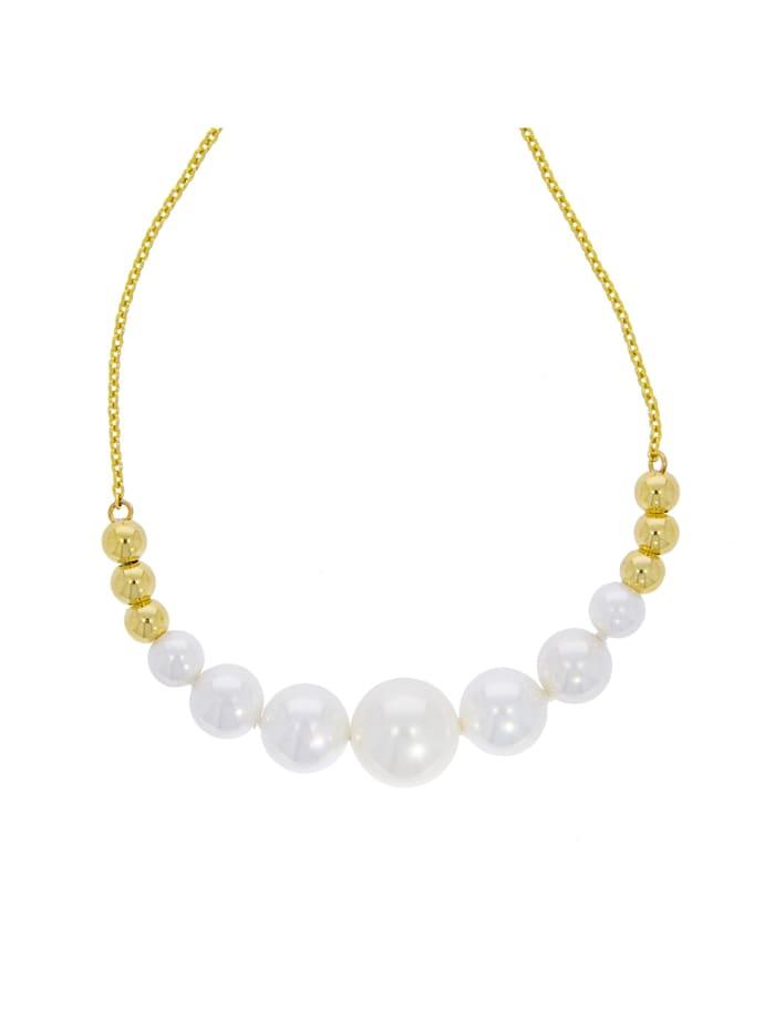 ZEEme Collier 925 Sterling Silber Perle weiß 45cm Glänzend | Klingel