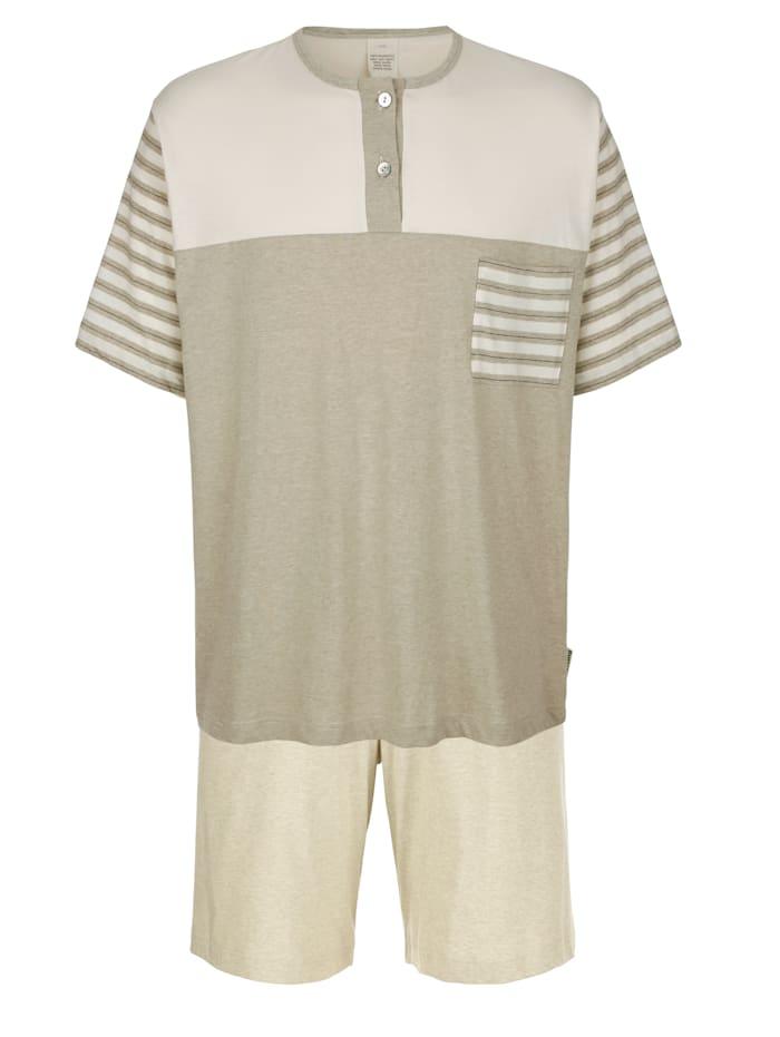 Pyjashort en coton naturellement teinté, Écru