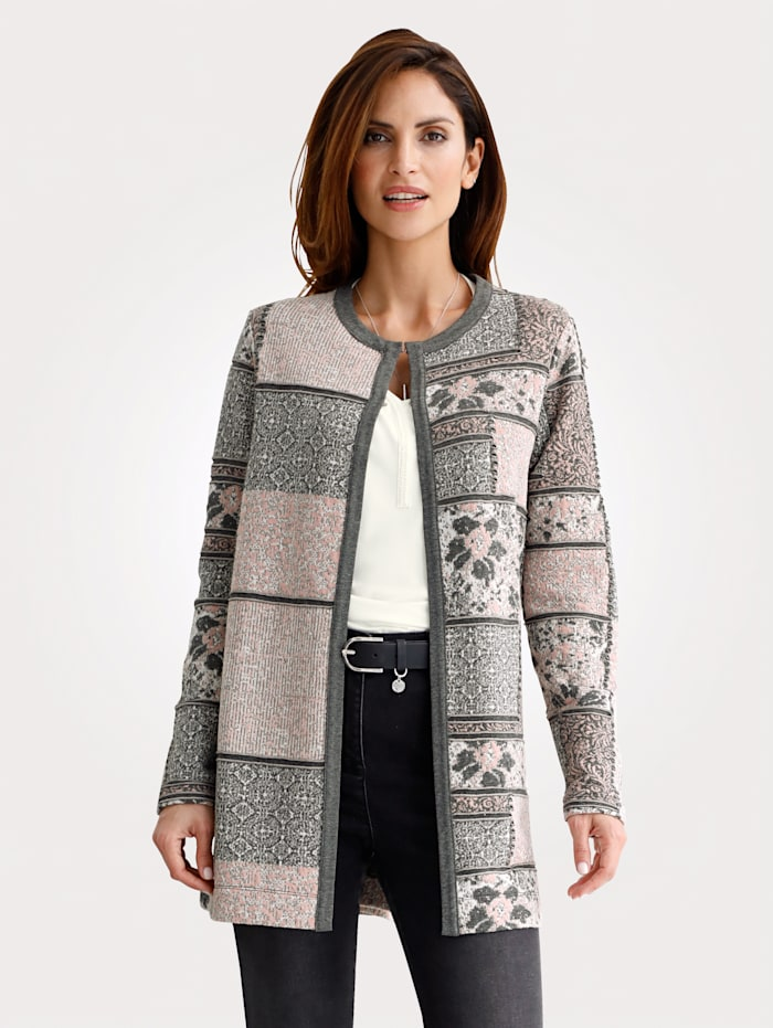 MONA Longline jacket with a classic jacquard pattern, Blush/Grey/White