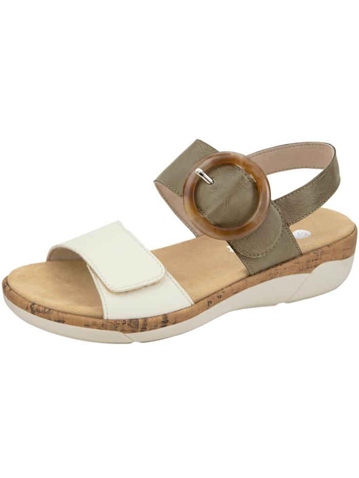 Remonte Sandale mit imposanter Zierapplikation, Khaki/Creme-Weiß