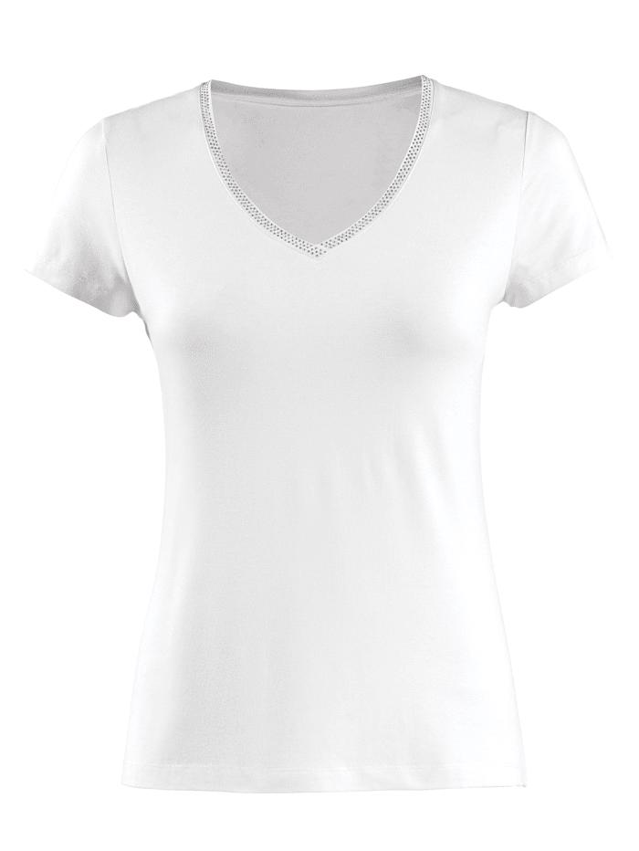 Alba Moda Shirt met strassteentjes, Wit