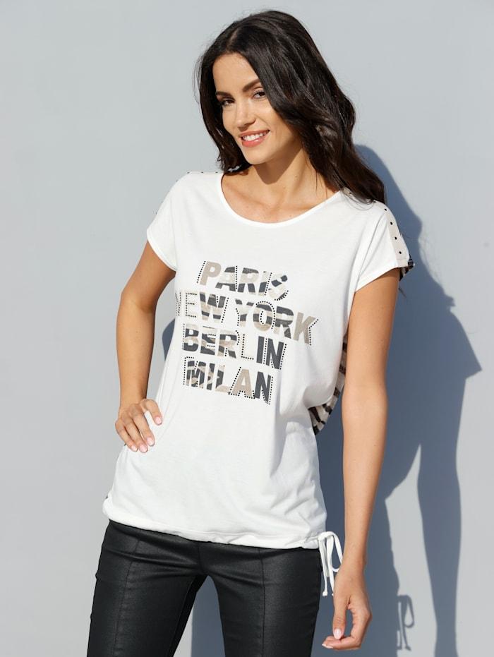 AMY VERMONT Shirt mit Schriftzug im Vorderteil, Off-white/Braun