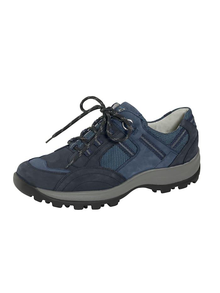 Waldläufer Šněrovací obuv v harmonickém mixu materiálů, Tmavá modrá
