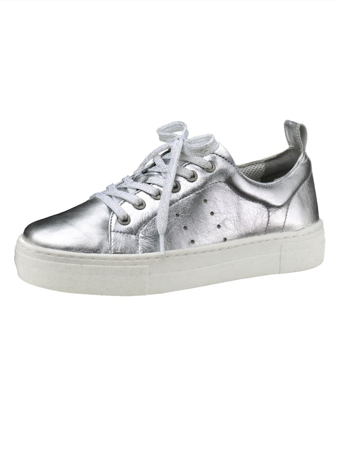 Liva Loop Plateausneaker in modischem Metallic-Look, Silberfarben