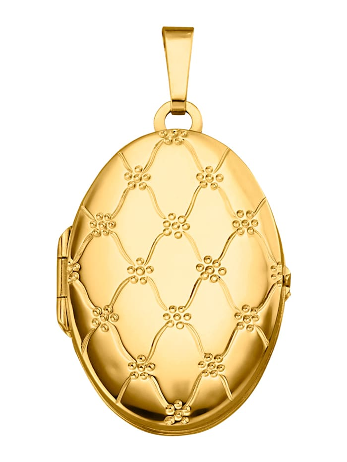 Diemer Gold Medaillon-Anhänger in Gelbgold 585, Gelbgoldfarben