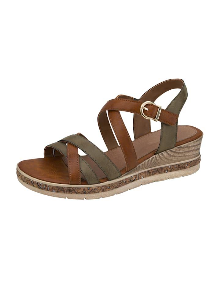 Remonte Sandaletter med klädsamma remmar, Brun/Grön