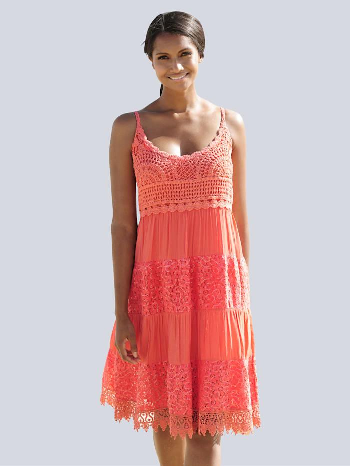 Alba Moda Strandkleid mit Häkelspitze, Orange
