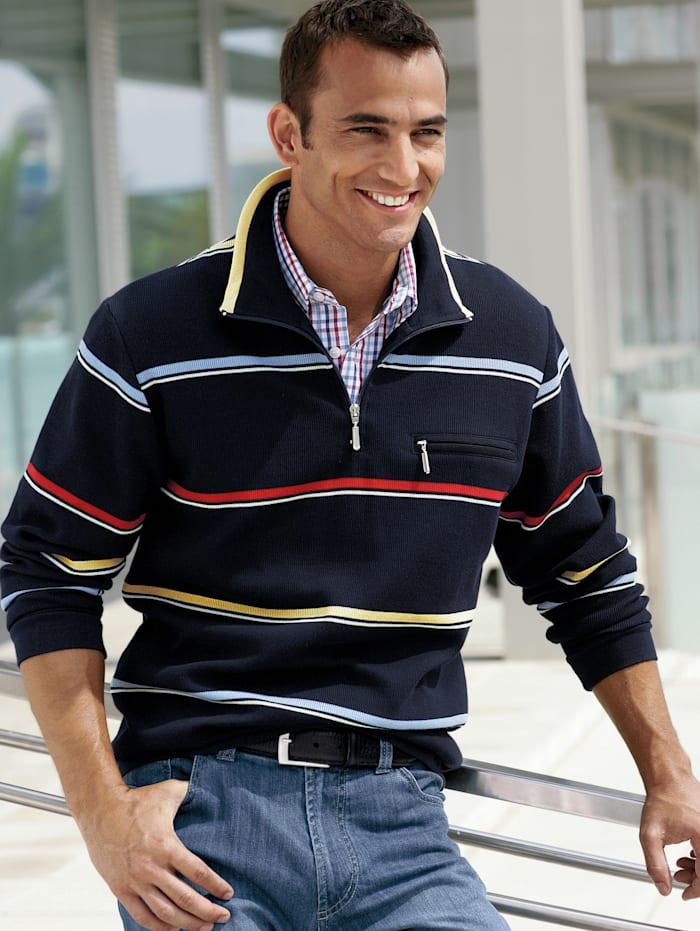 BABISTA Sweatshirt mit Troyerkragen, Marineblau/Rot/Gelb/Blau