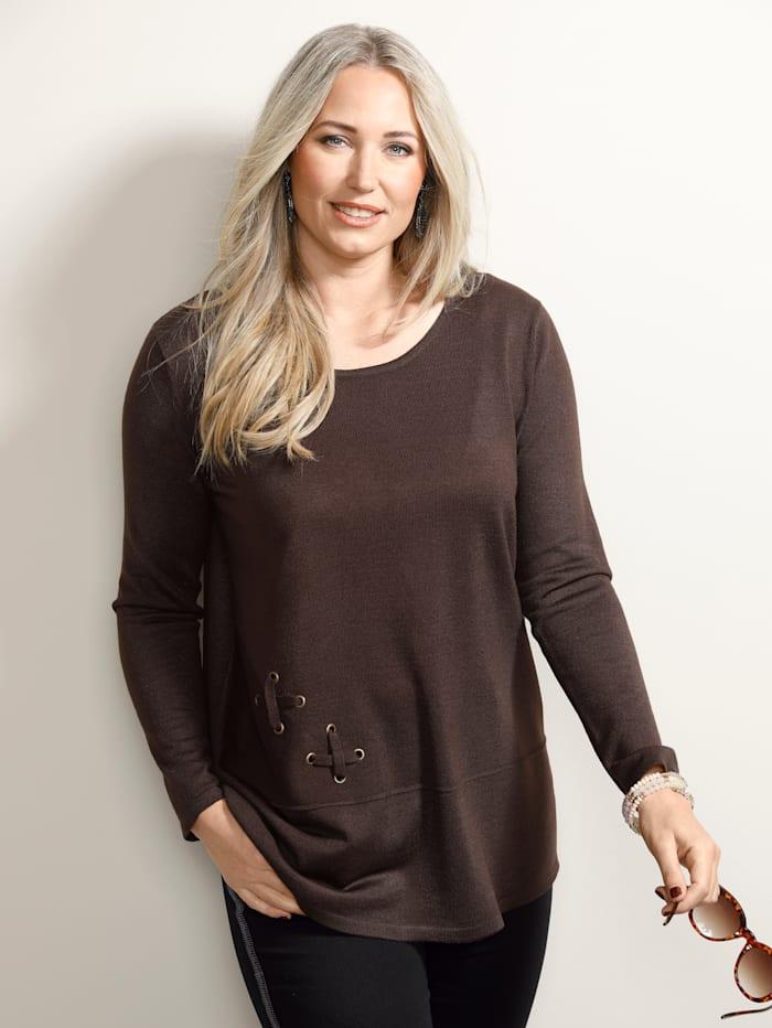 MIAMODA Pullover mit Ösen und Bändern, Braun