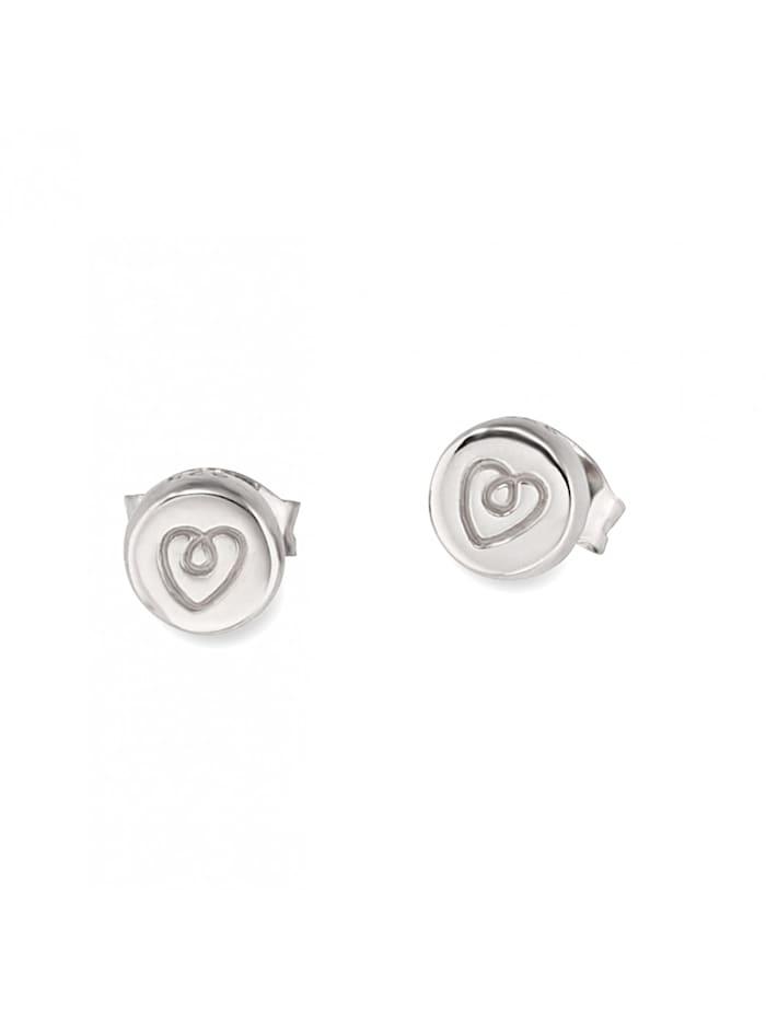 CAI Ohrstecker 925/- Sterling Silber ohne Stein rhodiniert, weiß