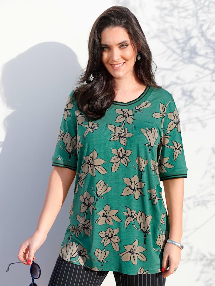 MIAMODA T-shirt à motif fleuri, Vert/Beige