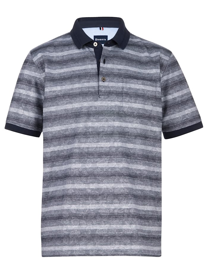 Babista Premium Poloshirt in aufwändiger Jacquard-Verarbeitung, Grau