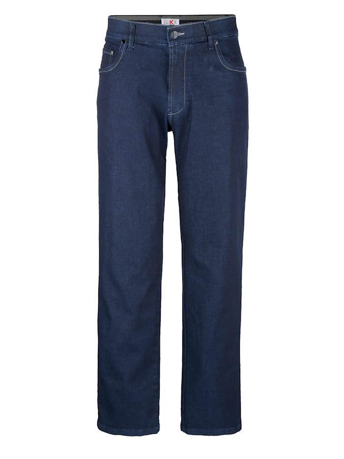 Roger Kent 5-pocketjeans met comfortabele elastische band binnenin, Dark blue