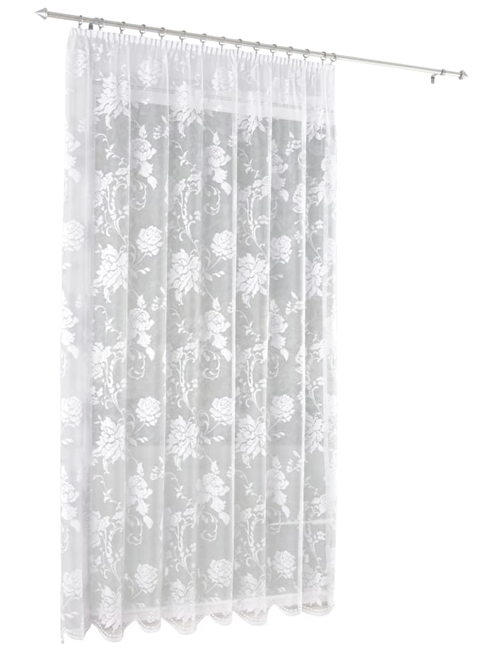 Webschatz Gardin med rosemønster, hvit