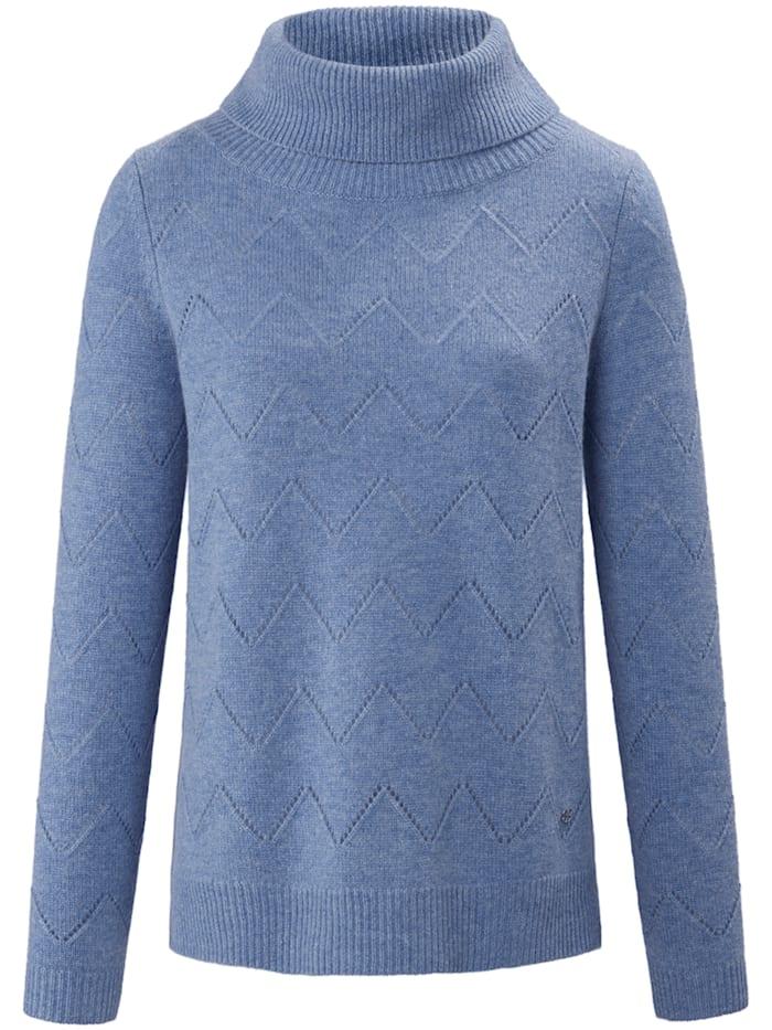 Basler Pullover mit Rollkragen und Ajour-Strick, blue melange