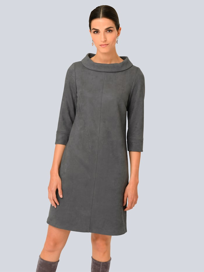 Alba Moda Kleid in Velours-Optik, Grau